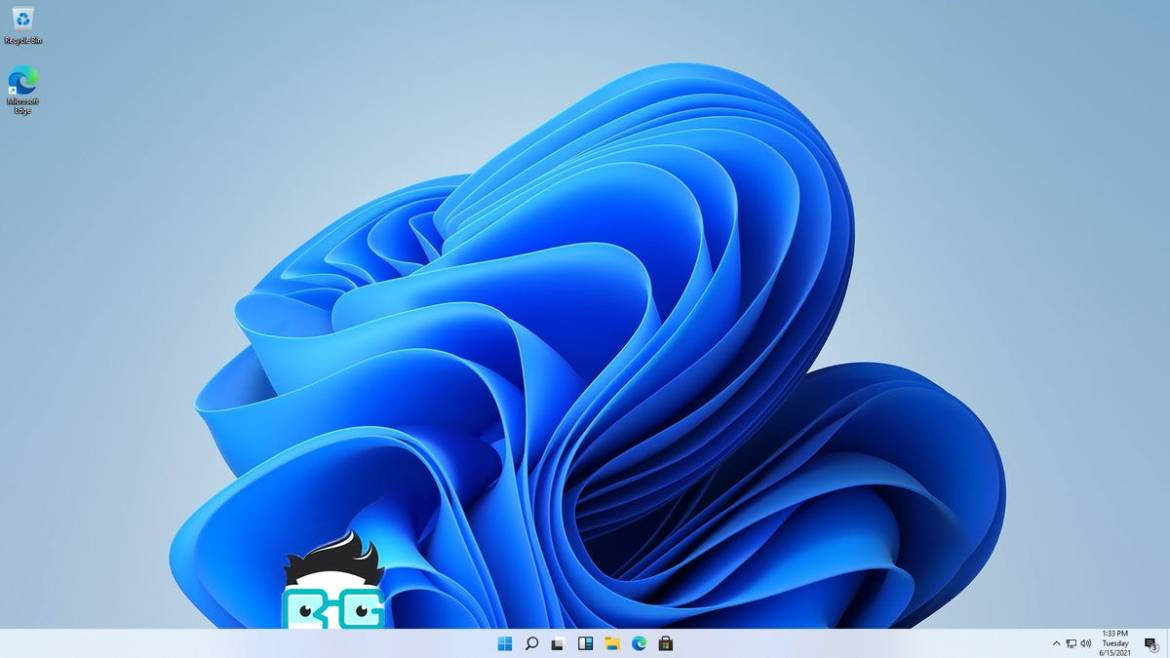 A Windows 11 home screen with an RG logo over it