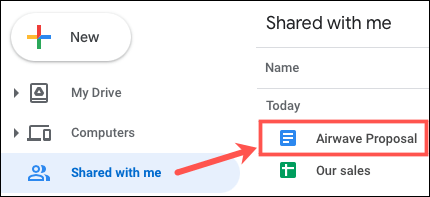 Open the document in Shared With Me in Google Drive