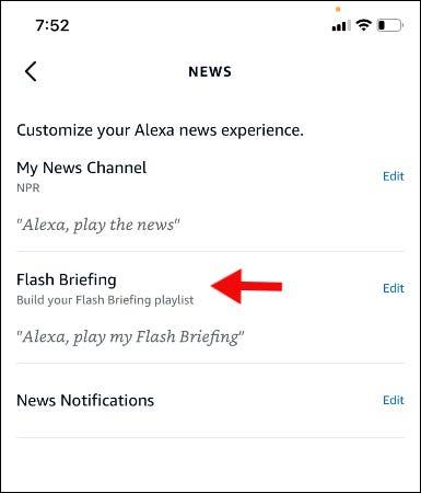 tap edit next to flash briefing