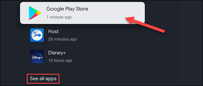 """Find """"Google Play Store"""" in the list. You may need to select """"See All Apps."""""""