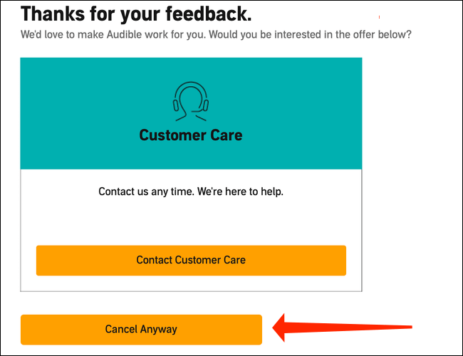 """Since we're fully committed to cancelling Audible, let's click """"Cancel Anyway."""""""