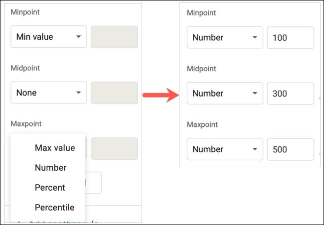 Adjust the values