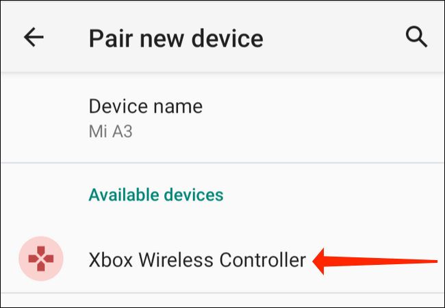 """On the """"Pair New Device"""" page in Settings on your Android phone, tap """"Xbox Wireless Controller."""""""