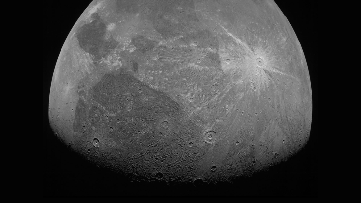A photo of Ganymede shot by the Juno orbiter.