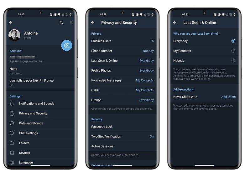 telegram privacy how to hide last seen online