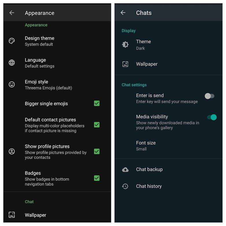 WhatsApp vs Threema design options