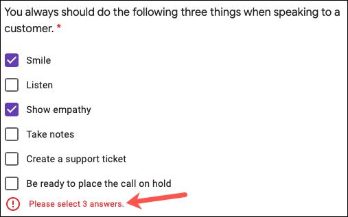 Response Validation on a quiz