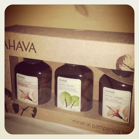 An AHAVA Dead Sea Mineral Pampering Treat. 2 bottles of cream wash and 1 bottle of body lotion.