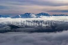 La haute montagne Corse enneigée depuis le San Petrone