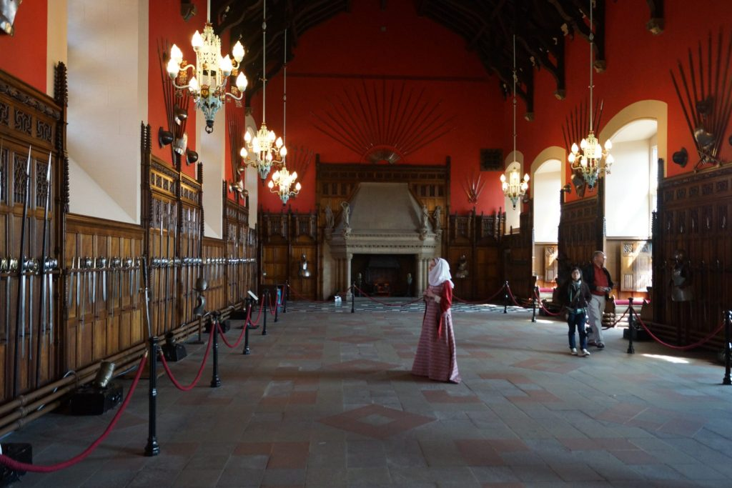 The Great Hall of Edinburgh Castle with Mary Queen of Scots actress