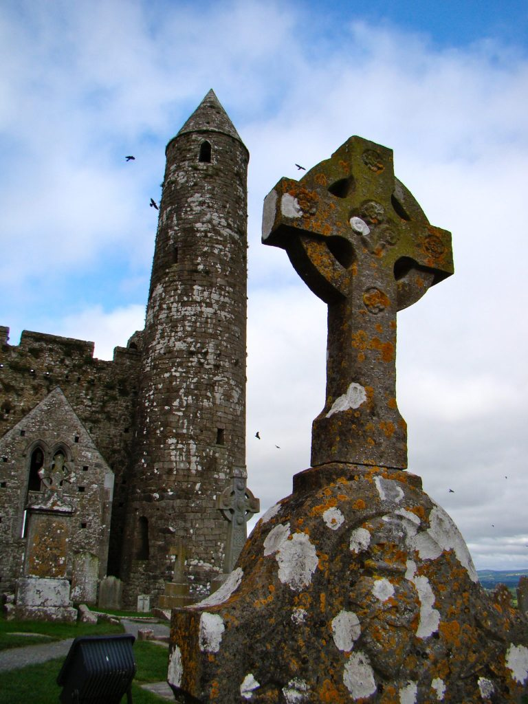 High Cross and Round Tower at the Rock of Cashel