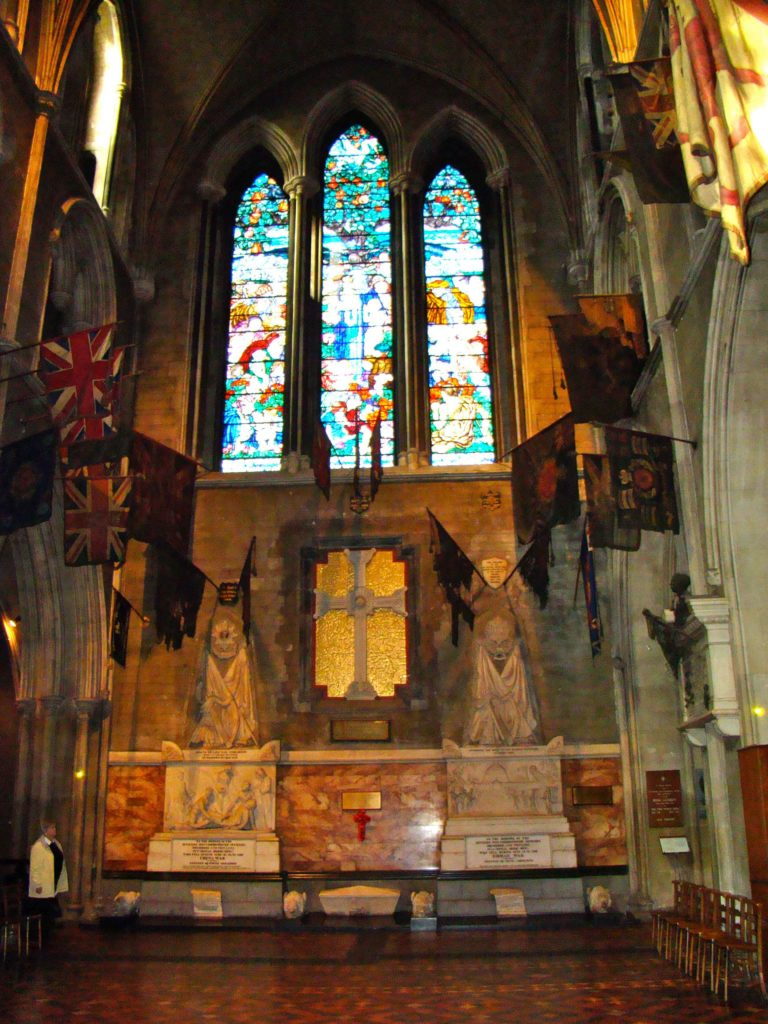 North Transept of Saint Patrick's Cathedral Dublin. War Memorial and Regimental Flags