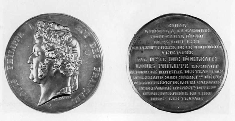 Médaille de la pose de la première pierre du pont canal à Agen