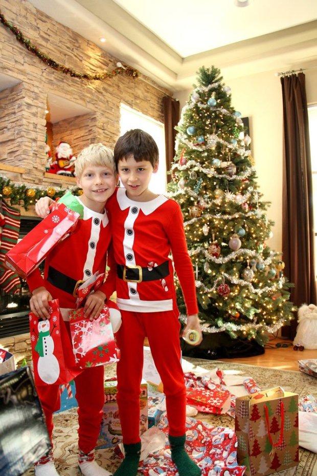 boys near christmas tree