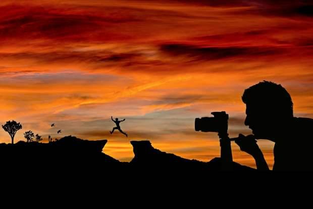 photographer in backlight
