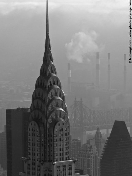 Sommet du Chrysler Building, New York, USA, photo noir et blanc