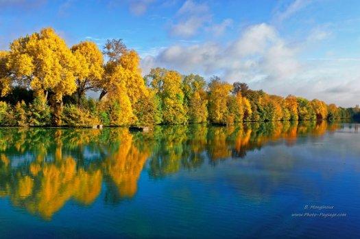 Cliquez sur cette image pour accéder à toutes les photos d'automne publiées sur Photo-Paysage.com. Cette photo d'arbres alignés en automne et se reflétant dans l'eau a été prise sur les bords de la Marne, au niveau des villes de Noisiel et Torcy.