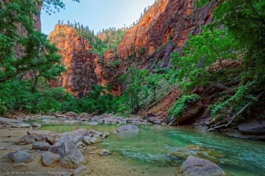 La Virgin river, surplombée d'impressionnantes parois rocheuses, dans le parc national de Zion (Utah, USA).
