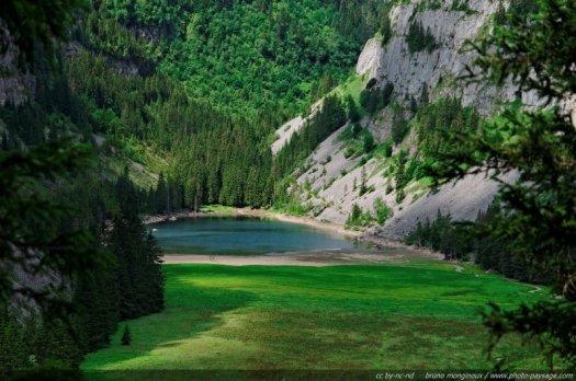 Le lac de Flaine et sa prairie humide