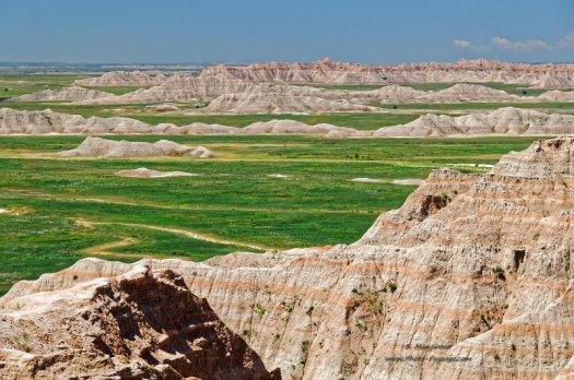 Paysage multicolore du parc national des Badlands, Dakota du Sud, USA