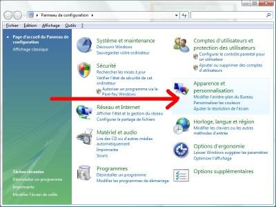 Modifier l'arrière plan depuis le panneau de configuration de Windows Vista