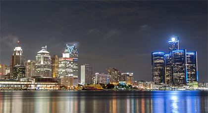 Downtown Detroit Michigan shot of Detroit river