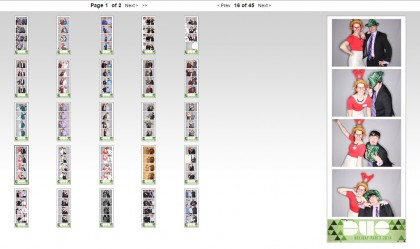 Image of photo booth strips in an online gallery