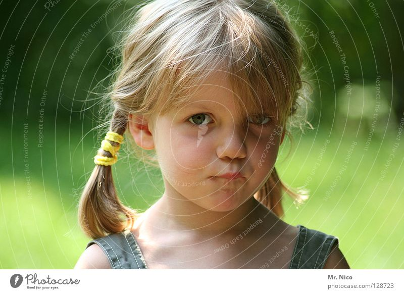Mad Little Girl Child Blue A Royalty Free Stock Photo