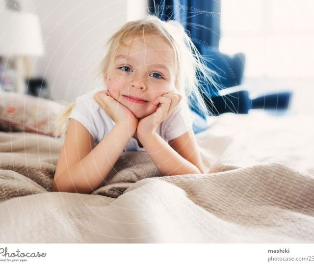 Cute Happy Toddler Girl On Bed Relaxation Joy Lifestyle Funny Family Relations Small Happy Playing