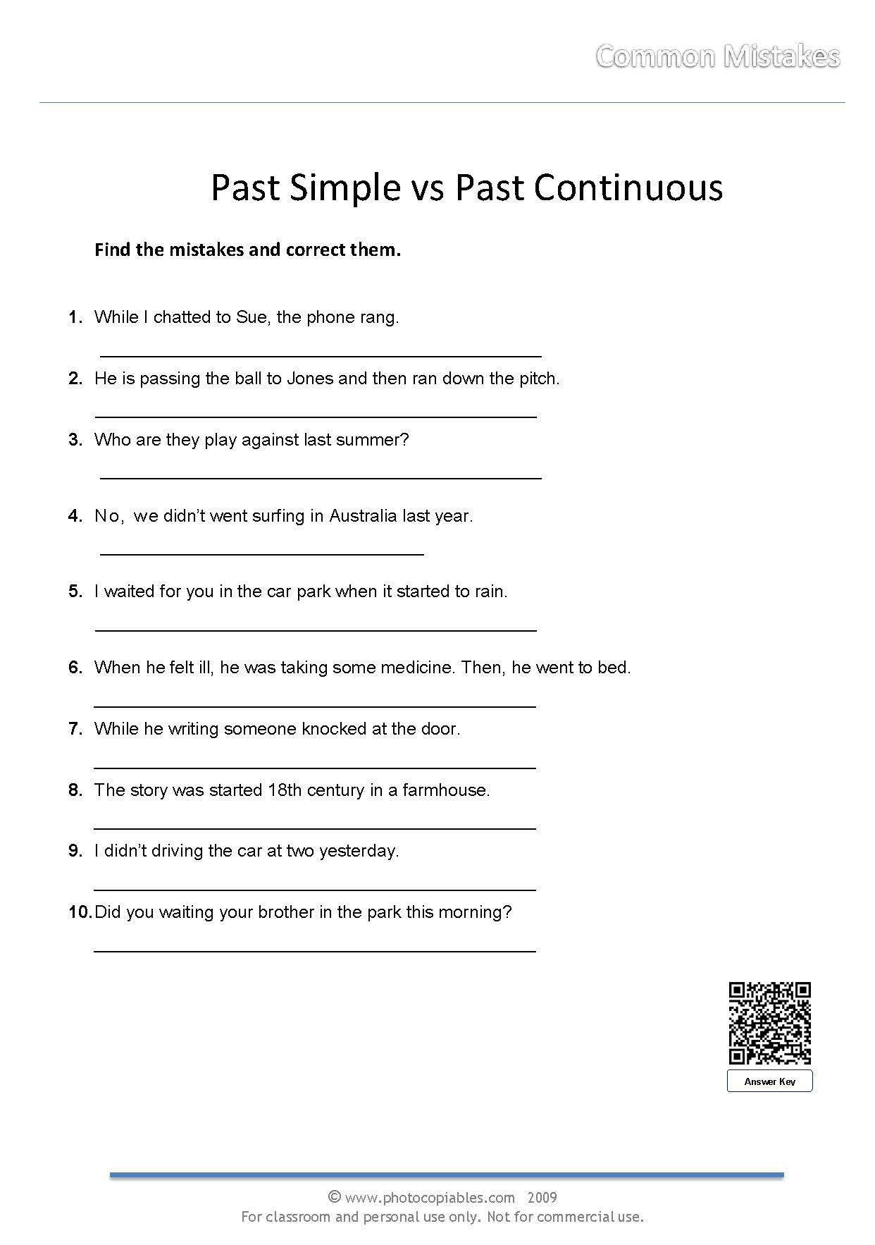 Past Simple Vs Past Continuous Error Correction