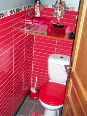 Dco Toilettes Gris Et Rouge