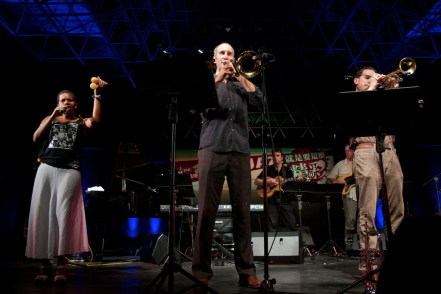 Three Wide: musicians at a concert at the Taipei International Jazz Festival