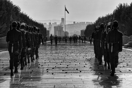 Soldiers march towards the Atatürk Mausoleum, Anıtkabir