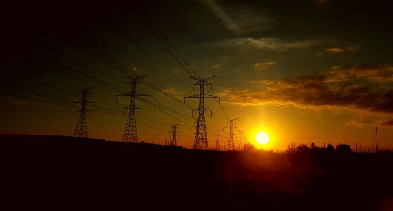 sunset on High Voltage Cable