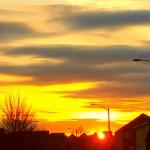 sunset on street