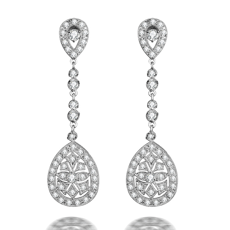 Canada White Gold Diamond Drop Earrings front