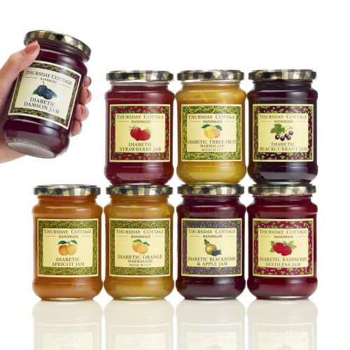 Group shot of Thursday Cottage Diabetic jams range - Food and drink photography
