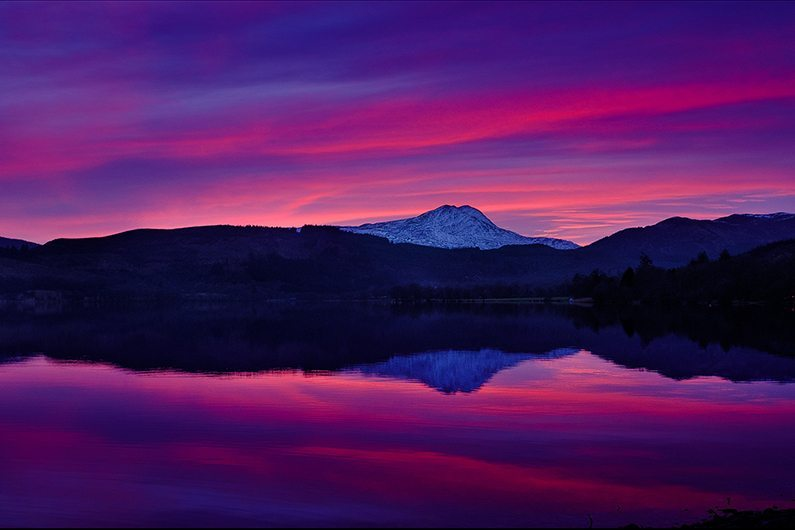 sunset over ben lomond from loch ard
