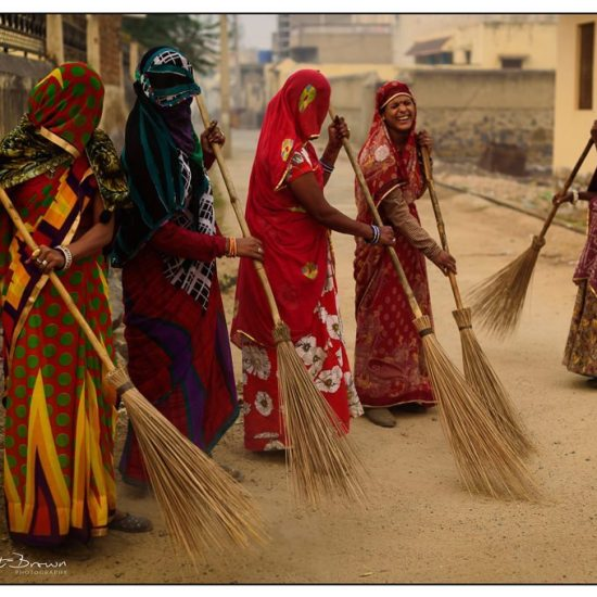 female street sweepers at dawn in mandawa, rural rajasthan