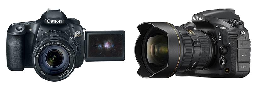 Canon and Nikon astrophotography cameras