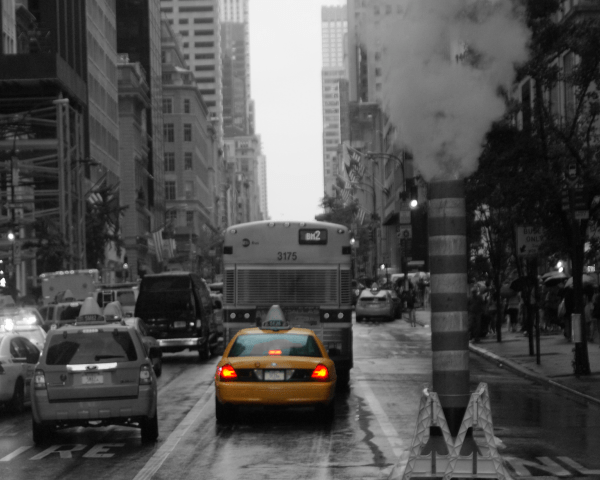 New York NYC - Photo Canvas - monochrome with single colour - the iconic Yellow taxi. Also features an exhaust plume from the New York City metro system on a New York Street