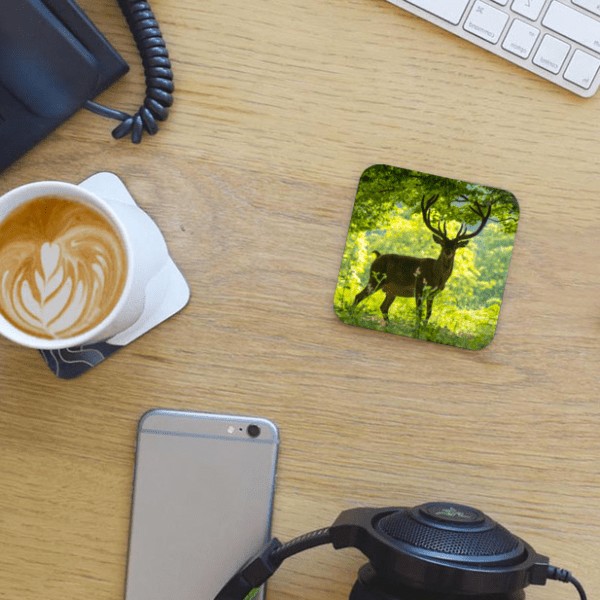 Photo Coaster - Red Deer Stag - Windsor Great Park - on desk with coffee and phone - by Dave Mutton Photography