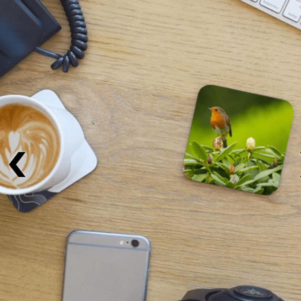Photo Coaster - Red Robin on Desktop with mug of coffee and phone