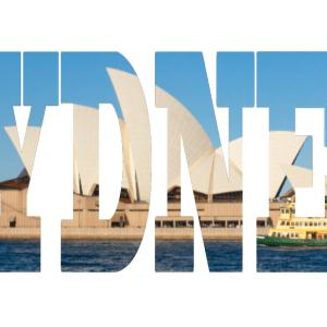 Sydney - text- Photo canvas - Iconic Sydney Opera House visible through the transparent word Sydney