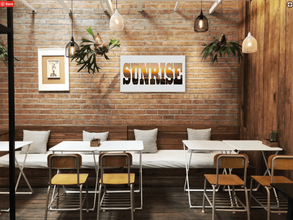 Sunrise - Text - Photo Canvas- Dawn - Surfers paradise - on a wall in a smart dining area
