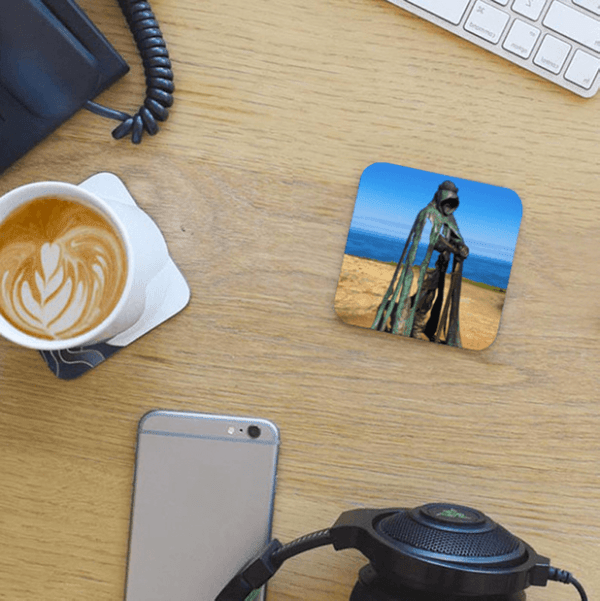 Photo Coaster - Gallos - Bronze Statue - On desk with coffee & phone