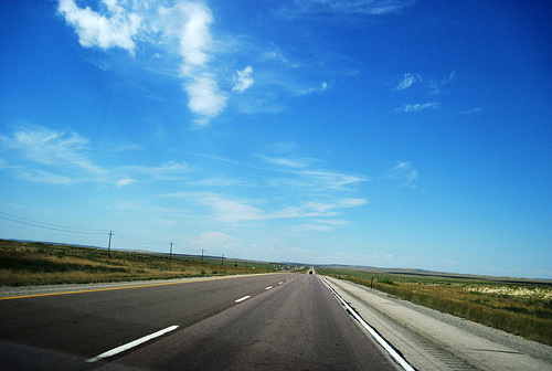 The open road in Wyoming