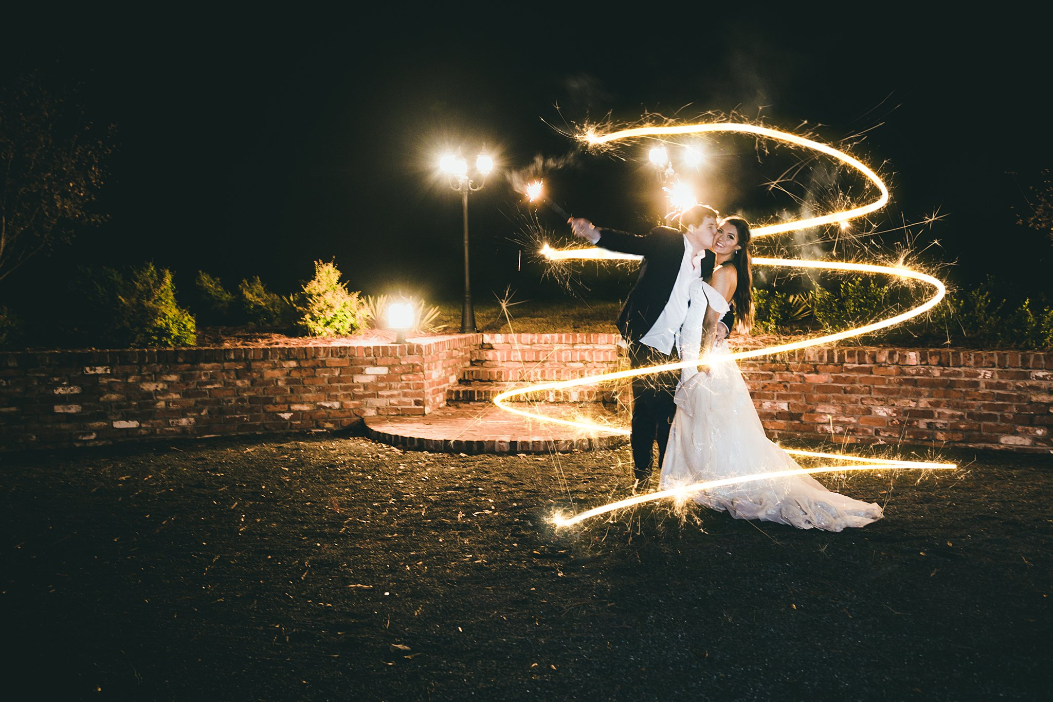 Sparkler Swirl Bride and Groom Barn at Harper Pines Wedding Atlanta Wedding Photographers