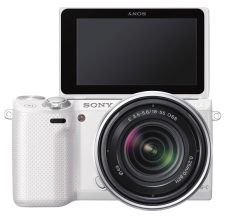 "Sony NEX-5R mirrorless camera with a 3"" / trouchscreen and swivel screen"