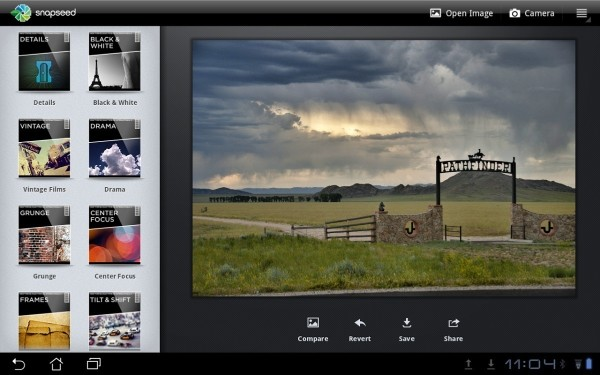 Snapseed supports DNG Raw photos… on Android devices